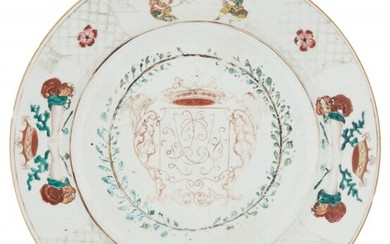 An Unusual Chinese Export Armorial Porcelain Charger