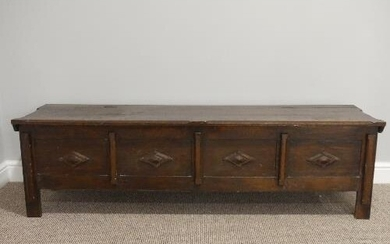 An early 20thC oak four panelled Coffer, each panel with app...