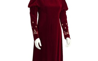 Annacat Red Velvet Gown with Gold & Silver Details