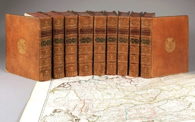 BARRE (Joseph). General history of Germany. In Paris, at Delespine, Hérissant, 1748. 10 vol. in-4, contemporary fawn calf, spine with 5 nerves, title and gilt and green morocco, decorated boards with carnations, triple gilt fillet on covers, gilt...