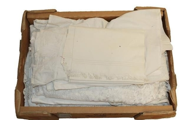 Box of Assorted White Linens and Textiles, comprising embroidered valance,...