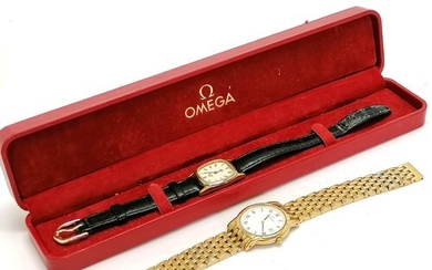 Boxed gold plated Omega gold plated wristwatch t/w gold plat...