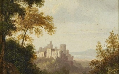British School, late 18th / early 19th Century- An Italianate landscape with a castle and figures on a country path; oil on paper laid down on panel, 15.7 x 11.8 cm. Provenance: Private Collection, UK.