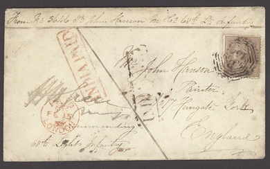 """Burma Military Mail Garrison Mail 1858 (21 Dec.) soldier's envelope to England, headed """"From No..."""
