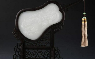 CHINESE WHITE JADE AND WOOD SCREES