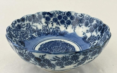 Chinese Floral Blue and White Scalloped Bowl