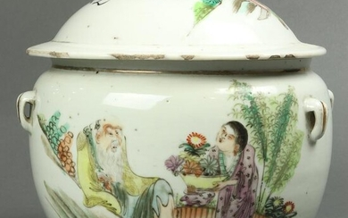 Chinese famille rose covered jar