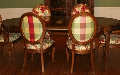 DINING TABLE, 6 CHAIRS BY WHITE FURNITURE CO, COUNTRY