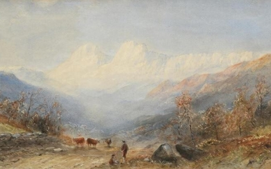 E Tucker (19th century) Highland lansdcape with cattle Signed, watercolour,...