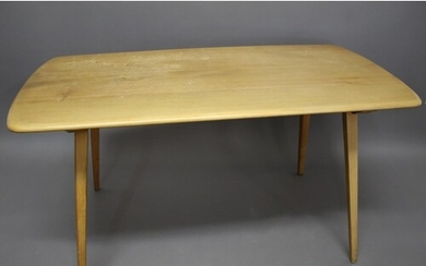 ERCOL DINING TABLE & TABLE EXTENSION a light elm dining tabl...