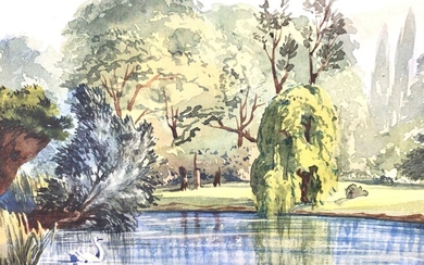 Early 20th century English School watercolour - view of The Lake Regents Park