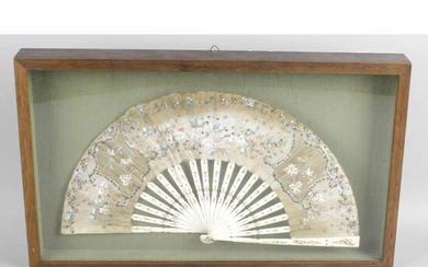 Early 20th century ladies handheld painted and sequinned fan.