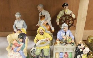 Eight Royal Doulton figures including: The Helmsman, The Chi...