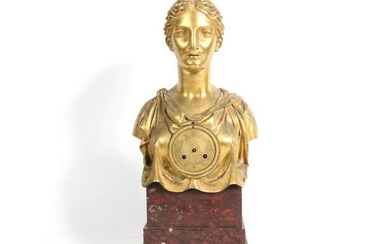 Empire Gilt-Bronze and Marble Figural Mantle Clock