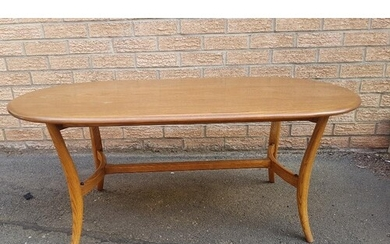 Ercol Golden Dawn Elm Oval Coffee Table with smoked glass sh...