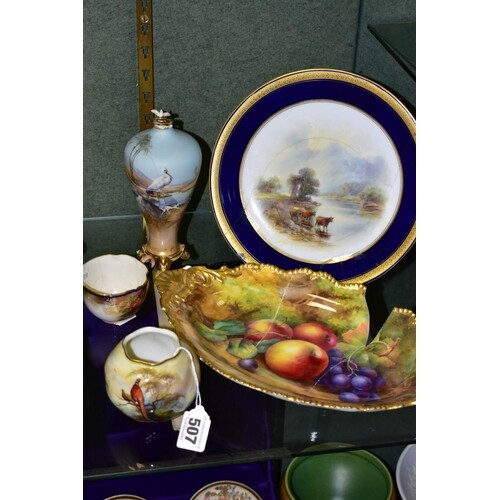 FIVE PIECES OF ROYAL WORCESTER PORCELAIN, four of which are ...