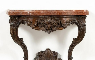 FRENCH REGENCE STYLE BRONZE MARBLE TOP CONSOLE