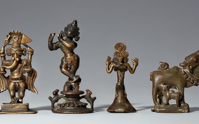 Four Indian copper alloy figures. 18th/19th century