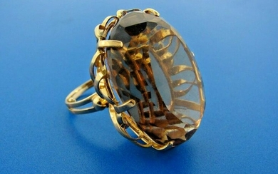 GROOVY 14k Yellow Gold & Citrine Cocktail Ring