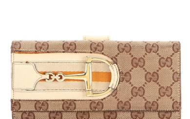 Gucci Hasler Horsebit Continental Wallet in GG Canvas and Beige Leather