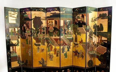 Chinese Imperial Court 8-Panel Folding Screen