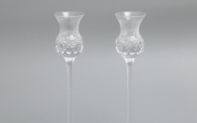 Kosta Boda signed cut glass candlesticks