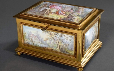 Large French enamel casket with 5 flawless picture panels in...