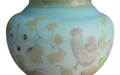 Large Turquoise Satin Glass Planter, having white and