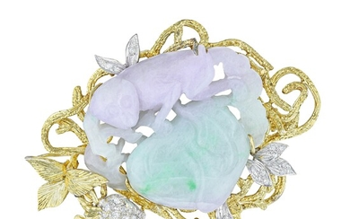 """Lavender and Green Jadeite Jade and Diamond """"Monkey in a Tree"""" Brooch/Pendant"""