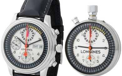 Longines. Rare and Important Honour and Glory Set in Steel of Chronograph Wristwatch Reference L7.885.4 and Stop Watch Reference 8350