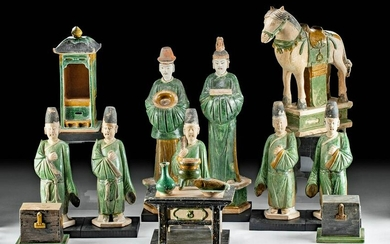 Chinese Ming Pottery Royal Marriage Assembly (13 pcs)