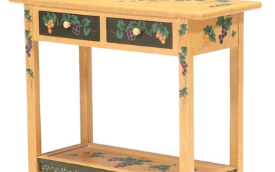 Mustard Sponged and Paint Decorated Console Table