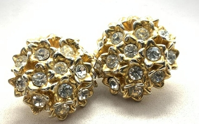 Oversized Floral Crystal Clip On Earrings, Jewelry
