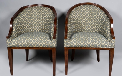 PAIR OF CONTEMPORARY MAHOGANY STAINED TUB CHAIRS
