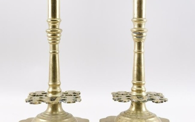 PAIR OF DUTCH BRASS CANDLESTICKS Late 18th/Early 19th