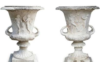 Pair Of Antique Neoclassical Marble Urns