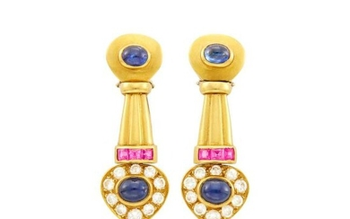 Pair of Gold, Cabochon Sapphire, Pink Sapphire and