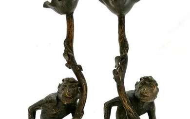 Pair of cast bronze novelty candlesticks in the form of monk...