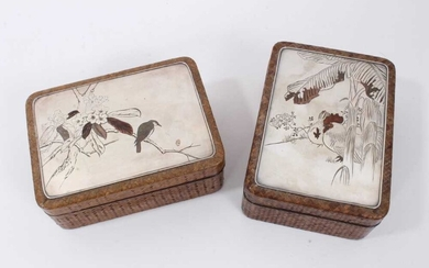 Pair of late 19th century Japanese mixed metal and straw work boxes