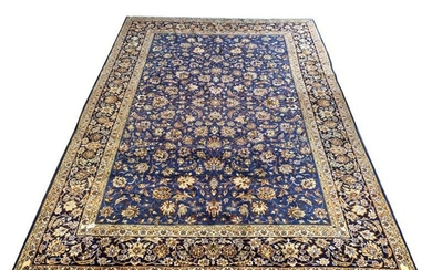 Persian Kashan ground carpet, the blue field with all...
