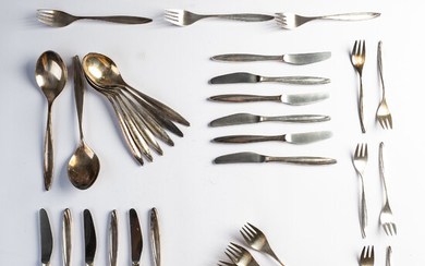 Peter Bruckmann & Sons, cutlery set, 800 silver, Germany (38).