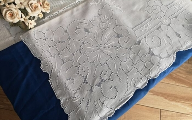 Precious double sheet in pure linen with Sicilian thread embroidery - 270 x 280 cm - Linen - 21st century