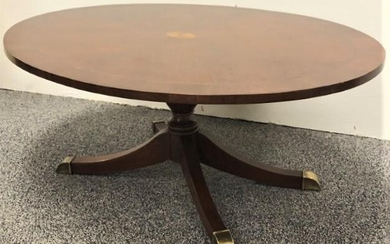 REGENCY STYLE PARQUETRY INLAID OVAL COFFEE TABLE