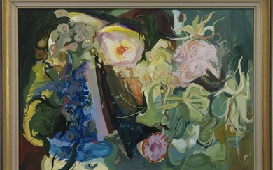 STILL LIFE WITH FLOWERS, AN OIL BY JAMES HARRIGAN