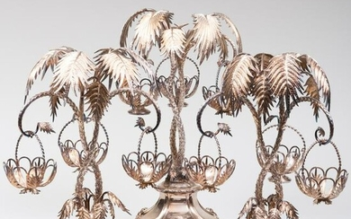 Set of Three Silver Plate Palm Tree Form Epergnes