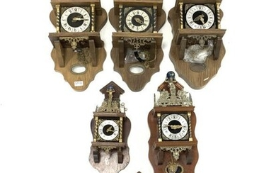 Six Dutch houseboat clocks, with four pendulums and six...