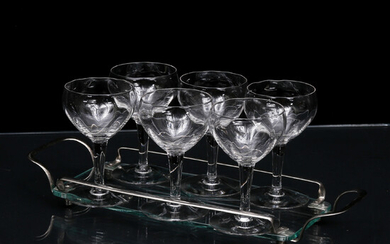 TRAY, glass and metal and LIQUOR GLASS, 6 pcs, around the middle of the 20th century.