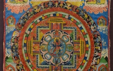 "Tibetan thangka ""Mandala"" with many figures, in the centre the..."
