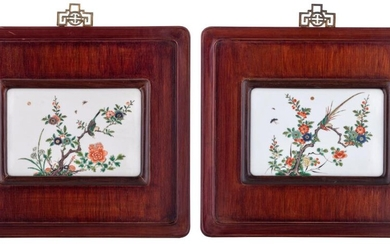 Two Chinese famille verte porcelain plaques, each mounted...