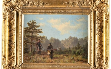 Two Sunday hunters in a meadow and forest landscape